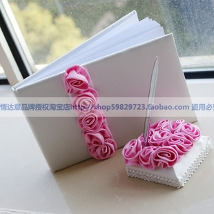 Continental attendance book wedding supplies wedding marriage pink roses in this signature sign book sign pen signature pen holder