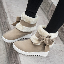 2015 new winter boots Han edition bow low cylinder maomao short boots Increased wholesale flat