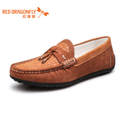 Red Dragonfly solid color genuine leather men's shoes new style fashion leisure set foot comfort wear men's shoes