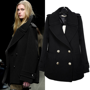 High quality European and American double breasted wool woolen coat long section of a large lapel wool coat women s plus thick cotton