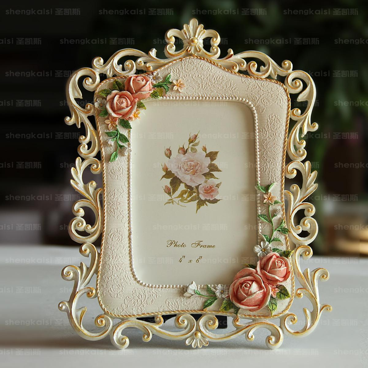 6寸7寸田園彩繪樹脂相框 工藝 擺台 婚紗照相架S02