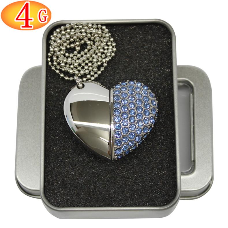 欧速4gb水晶钻心形U盘优盘闪钻创意u盘心型4GB女生日礼品定制