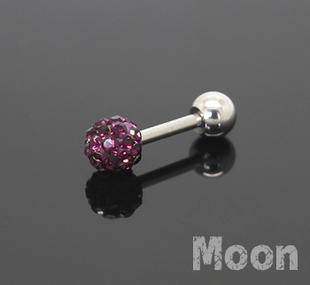 Heat Wave 316 medical steel piercing jewelry full of diamond earrings ear bone screw nail small ear purple diamond Single