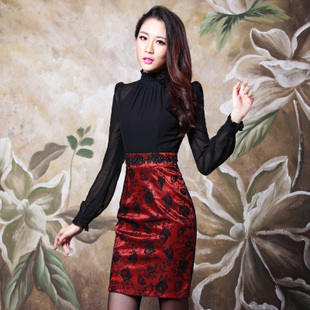 Xu Dingxuan middle aged women s 2015 autumn and winter high grade large yards Slim ladies long sleeved chiffon lace dress child