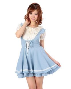 2199 li lisa sweet lace bandage skirt wild thin denim strap