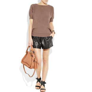 Xinkuan promotional value European style star 100 sheep skin leather shorts leather pants leg was thin elastic waist loose