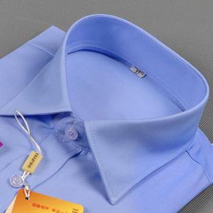 夏季修身寸衫藍色職業工裝方領V領襯衫大碼正裝棉女士襯衣長短袖
