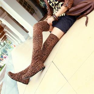秋冬欧美潮新款内增高过膝长靴豹纹弹力磨砂女靴子性感平底高筒靴