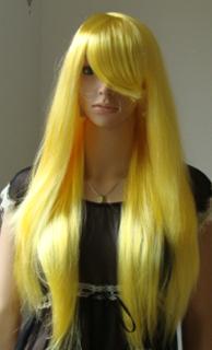 彩色 长发 黄色 长直发 假发 角色扮演 我的朋友很少 柏崎星奈