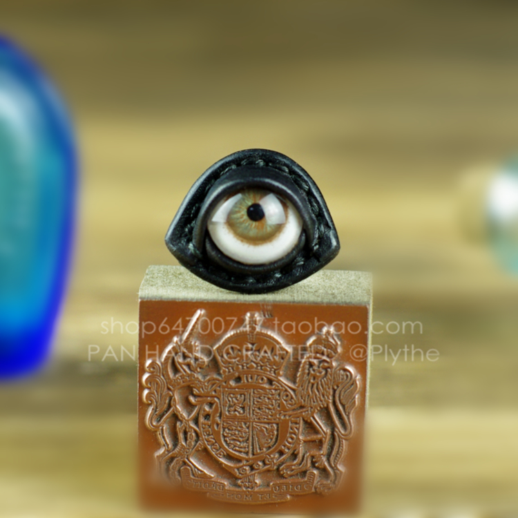 Imported Brown human eye original designer originality Yuansu hand made cowhide artificial eye ring