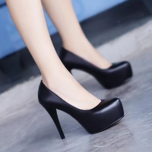 2015 fall shoes autumn shoes leather high heeled shoes sexy black shoes waterproof Taiwan fine with high heels 33 yards