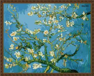 特价 数字油画diy油画 手绘装饰画 彩绘数码数字画4050 梵高-杏花
