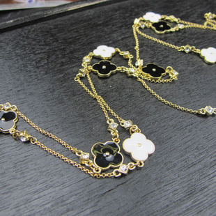 Gold sided black and white enamel drip long necklace bracelet anklet earrings