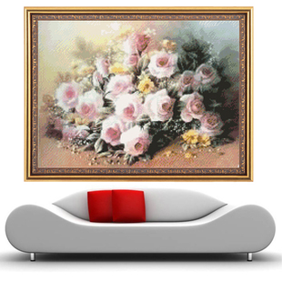 Authentic French DMC embroidery stitch embroidery kit oil mixed series of fresh flowers printing pink roses