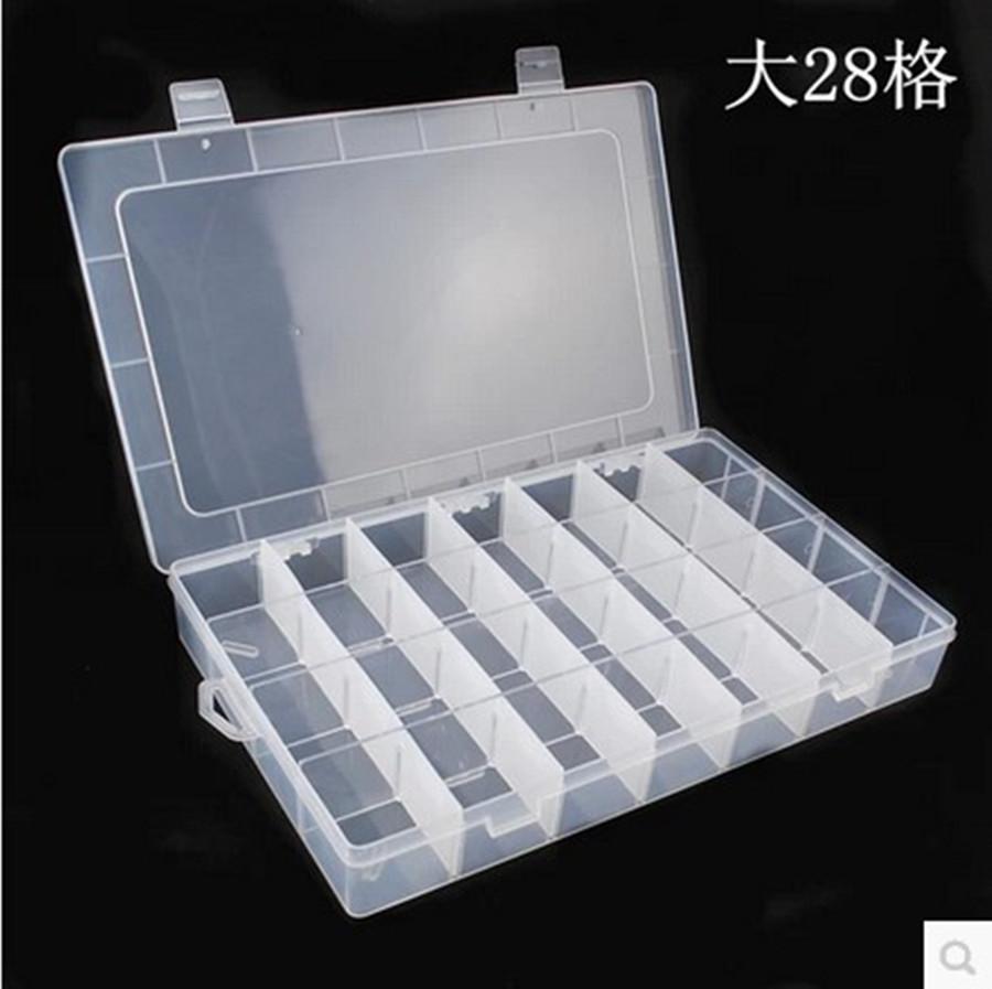 热卖28格透明内格可拆塑料盒化妆饰品首饰盒情人节礼品收纳批发
