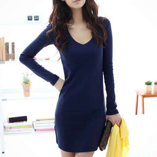 2 Korean version of large size women long section of Ms T shirt large low collar shirt hip dress code