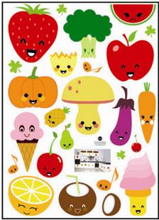 新品特价厨房橱柜冰箱贴儿童卡通随意贴 水果派对三代可移除墙贴