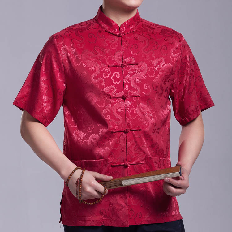 Дракон династии Тан костюм мужчин короткие летние старые китайские костюмы шелка кнопок Китай Ветер
