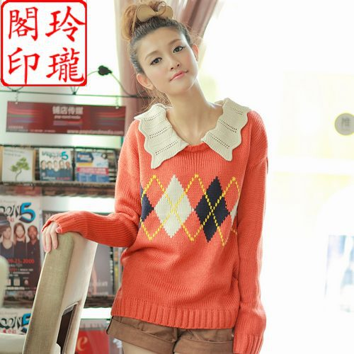 Any 2-Pack autumn womens new wave neck diamond pattern long sleeve straight sweater F35 four colors