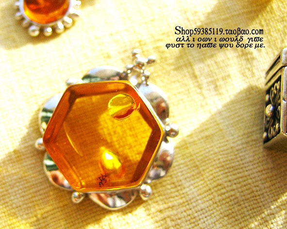 Twin shore 925 Sterling Silver Pendant Jewelry Polish diamond amber necklace