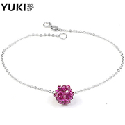 YUKI foot jewelry silver chain 925 Silver purple crystal ball and original new Korean fashion DIY clean
