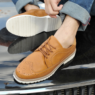Boutique fashion shoes male Shibu Locke brown Oxford shoes in Europe and America Fan carved three joint Brogue shoes
