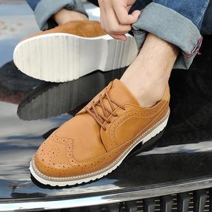 精品男士布洛克皮鞋 时尚欧美范牛津鞋 棕色三接头Brogue雕花皮鞋