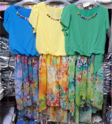 2014 new women's clothing han edition sweet summer fashion printing irregular short sleeve chiffon dress