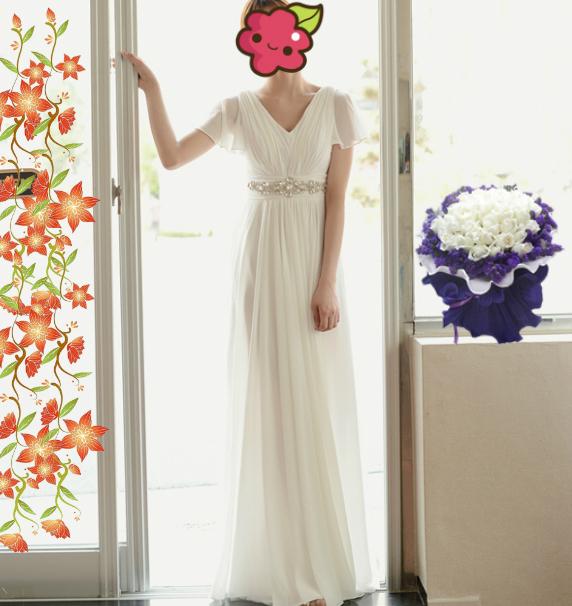白色短袖礼服 飘逸长裙 高腰显瘦款晚宴服少女毕业演出服主持服