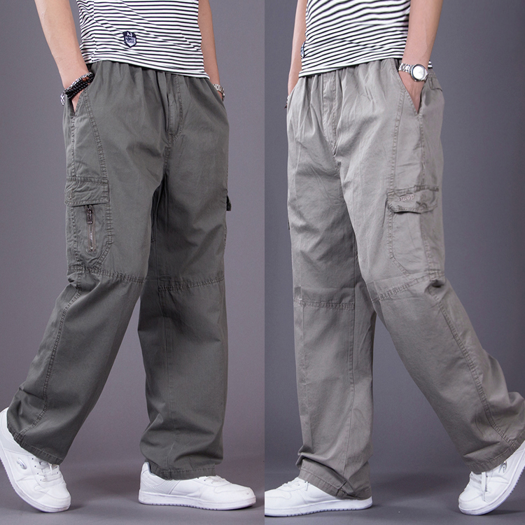 Summer thin casual pants mens loose and fattening mens overalls and trousers