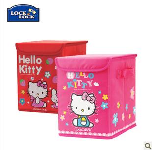 正品乐扣HELLOKITTY儿童收纳箱整理箱涤纶布玩具盒HKT150P包邮10L