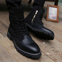 Summer merchant movement high tide han edition men's shoes to help and recreational leather shoes sneakers shoes British winter wind tall canister boots, Martin