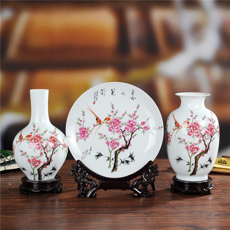 Современные китайские Jingdezhen керамика вазы набор трех украшения дома, украшения ремесел ТВ кабинета должность