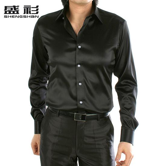 Мужчин среднего возраста длинный рукав рубашки рубашки мужские tide весной мужской корейской версии самоуправления нового 2015 черного шелка атласа