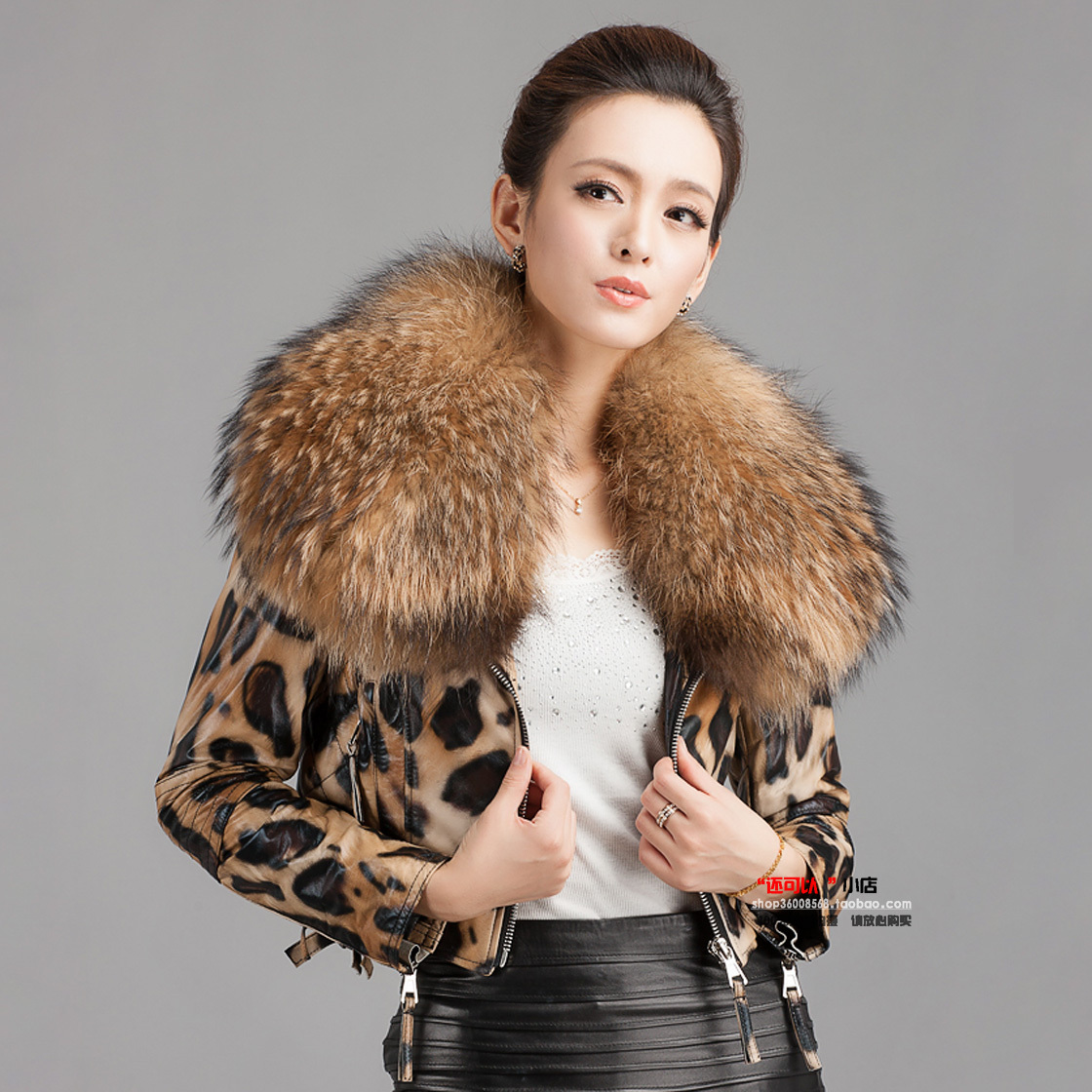 к 2015 году новых енота мехом Корейский волны леопардовым принтом кожаный тонкий короткий овец кожи женщин Жакет воротником