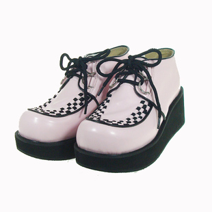 9715 powder new LOLITA COS PUNK Women's Shoes lace-up platform shoes punk shoes