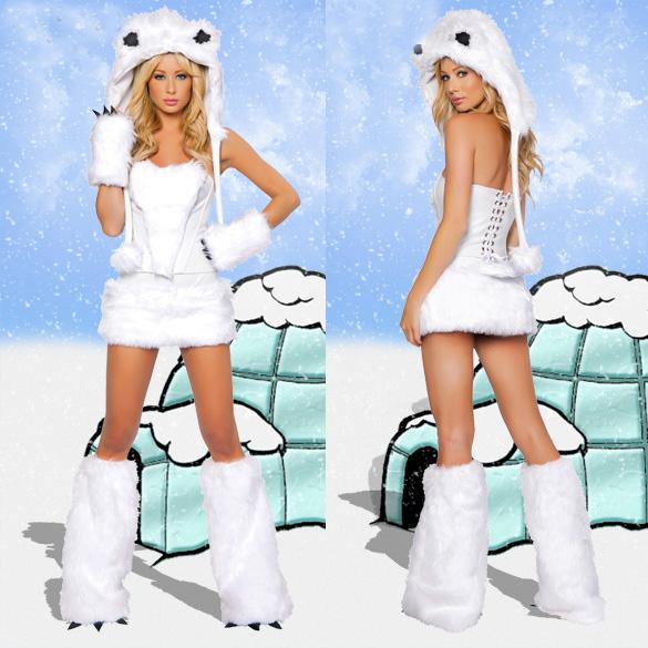 ハロウィンのパーティー服のホッキョクグマのコスプレ服の白いヒョウのコスプレ衣装の白猫の女性の舞台服