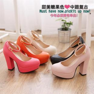 Ice cream candy color thick with sexy cosplay Queen Fan Japanese NANA ankle buckle shoes Removal