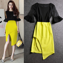 European spring/summer 2015 new women's clothing Korea bought sexy color split into irregular cultivate one's morality dress