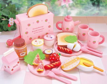 Клубника сад матери тост хлеба машина моделирование деревянных детей играть кухни игрушки экспорт