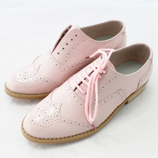 Spring and autumn all sheepskin cowhide British retro shoes womens shoes block shoes Oxford Shoes Womens low top shoes single shoes