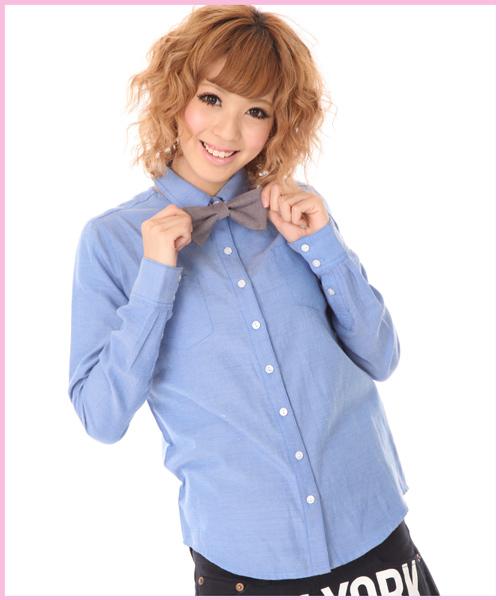 潮牌2011 COCOLULU新款衬衫时尚学院风百搭简单可爱蝴蝶结衬衫