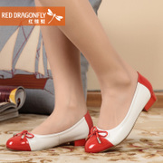 Red Dragonfly genuine leather women's shoes new style fashion leisure bow color low chunky heels women's shoes