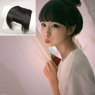 100 real hair on both sides of the long bangs hair piece invisible Qi Liu Xiu face cute with sideburns Qi