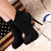 Strange love of spring and autumn boots women short tube nude boots platform high heel ankle boots and ankle boots rhinestone flower boots