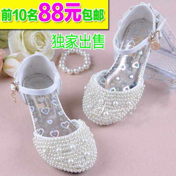 Должность летом 2015 корейских девочек принцесса Латинской ребенка детей охладить в белых детей высокой пятки обувь 38
