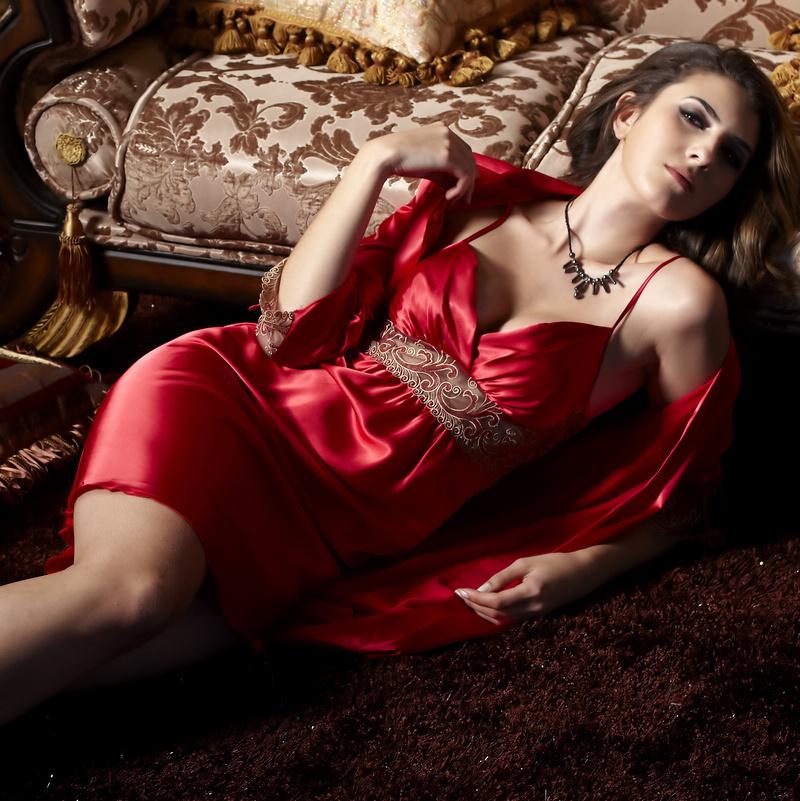 春秋 性感蕾丝长袖睡袍浴袍睡衣女夏娃诱惑吊带睡裙家居服两件套