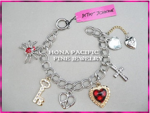 BJ bracelet red checkered heart key spider cross bracelet