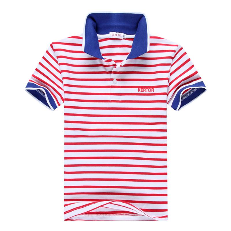 兒童純棉條紋中大童polo衫