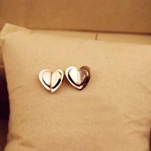 0043215c2702 Cartier Cartier doble en forma de corazón de oro rosa de 14K superposición  de durazno pendientes
